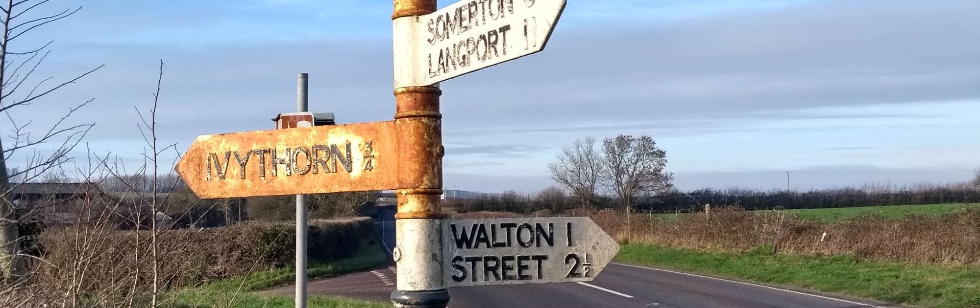 Old fingerpost signposting Walton