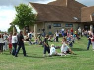 village hall and residents on a funday