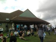 side image of village hall at fun day